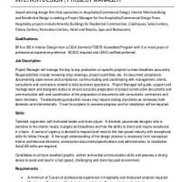 Interior design project manager job description